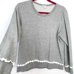 J. Crew Grey Sweatshirt Embroidered White Dot Trim